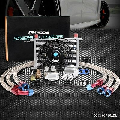 UK 25 Row 10AN Universal Engine Oil Cooler Kit +Filter Adapter Kit+Universal Fan