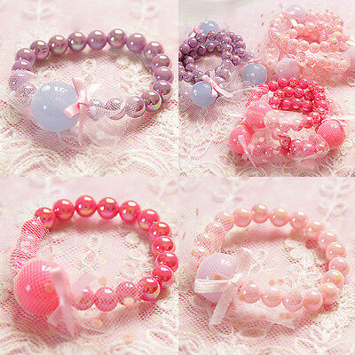 Lovely Girls Colored Jelly Candy Pearl Bracelet Kids Jewelry Children Baby Gift