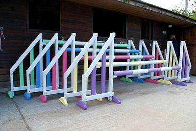 Quality horse show jumps, set of 5 by bristol show jumps. with keyhole tracks