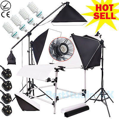 Photo Studio 2700W Continuous Lighting Softbox Kit 60x130cm Shooting Table Set