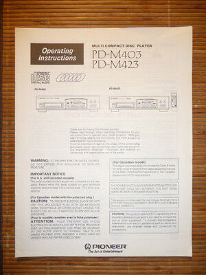 Operating Instructions For Pioneer Pd 5500pd 4550pd 4500 Original