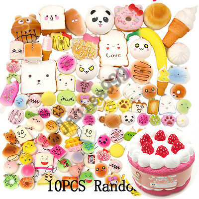 Lot 1Pcs Jumbo Squishy Cake+10Pcs Mini Cellphone Squishies Bread Straps Randomly