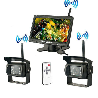 "7"" Wireless Rear View Monitor Kit+2x Night Vision Backup Camera For Bus Truck/RV"