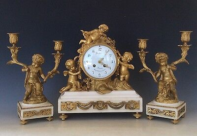 French Clock Garniture in  Gilt Bronze and Marble Circa 1880
