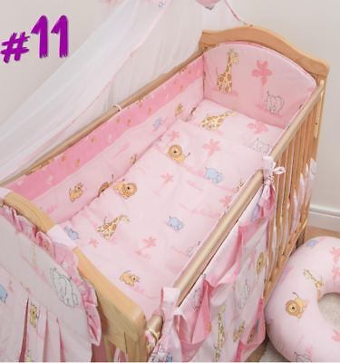 5 Piece Baby Cot Bedding Set With 4 sided Bumper to fit 120x60 cm - Pattern 11