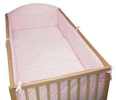 5 Piece Baby Cot Bedding Set With 4 sided Bumper to fit 140x70 cm - Plain Pink