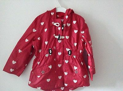 M&S Girls Raincoat Age 4-5 Red Used