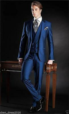 2017 Blue 3 Pieces Men's Tailored Fit Bridegroom Suits Formal Wedding Prom Suit