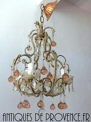 Antique Vintage Petite Crystal Macaroni Beaded Murano Drops Chandelier Italian