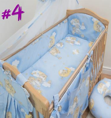 6 Piece Baby Cot Bedding Set With 4 sided Bumper to fit 140x70 cm - Pattern 5