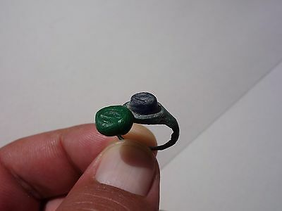 Roman bronze engraved blue glass intaglio ring,displayed fishes,date IIIrd AD