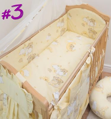 6 Piece Baby Cot Bedding Set With 4 sided Bumper to fit 140x70 cm - Pattern 3