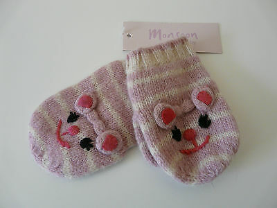 Bnwt Monsoon Baby Girl Pink Striped Wool Angora Cat Mittens Size 1-3 Years