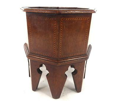 "ANTIQUE OCTAGONAL INLAID ENGLISH WOODEN WOOD PLANTER POT 8 1/4"" 20cm tall"