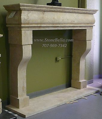Fireplace MANTLE, Stone Fire Place Mantel, Old World Hand Carved Travertine
