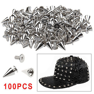 New 100pcs 7x10mm Metal Cone Screwback Spike Stud Punk Bag Leather Craft DIY
