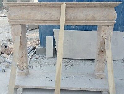 Travertine Stone Mantel Fireplace, Hand Carved Mantle