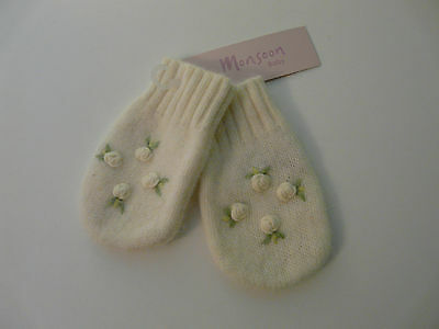 Bnwt Monsoon Baby Girl Ivory Lambswool Angora Rosebud Mittens Size 0-12 Months