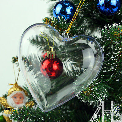 10x Clear Plastic Heart Christmas Tree Decoration Wedding Baubles Hanging Ball