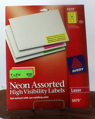 Avery 5979 Laser Neon Assorted 1 x 2 5/8 inch labels bbb251