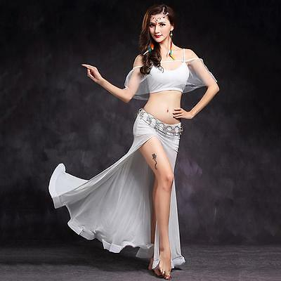 New Women Belly Dance Costumes Stage Sets 2pcs Top& Long Skirt Black White M L
