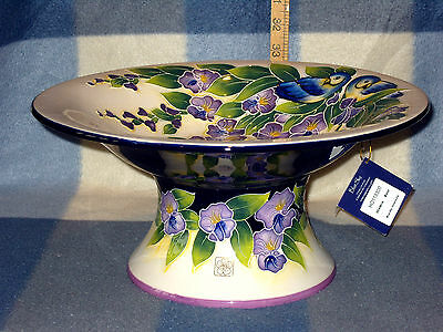 NEW JEANETTE McCALL ICING ON THE CAKE LARGE WISTERIA PEDESTAL BOWL WITH TAGS