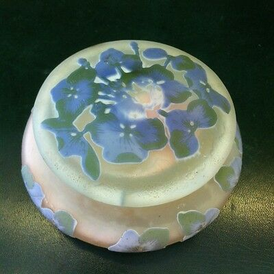 Emile Galle French Cameo Glass Box , Early 20 Century Flower Design