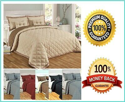 5 Pieces Bedspread Diamond Reversible Comforter Bed Throw Quilted Home Decor