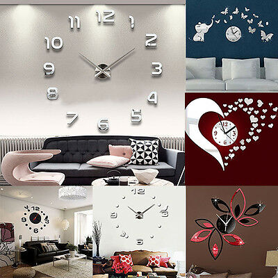 Hot 3D Diy Wall Clock Home Decoration Crystal Mirror Sticker Living Room Comely