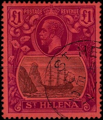 St Helena 1922 £1 Grey & Purple Red SG96 Superb Used Madame Joseph Cancel Lovely