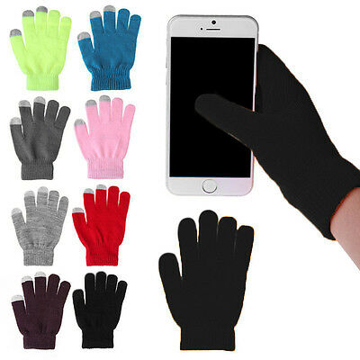 Soft Winter Mens Women  Gloves Texting Capacitive Smartphone Knit