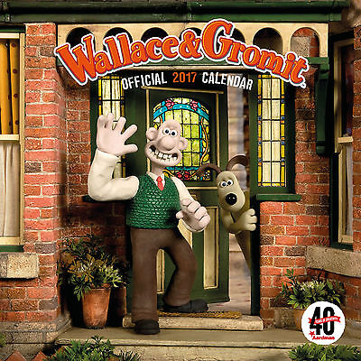 Wallace & Gromit Aardman 40th Official 2017 Square Wall Calendar NEW (SKU 281)