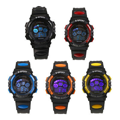 Kids Children Boys Waterproof Rubber Digital LED Sports Wrist Watch Alarm