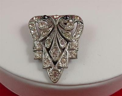 Art Deco Carved Dres Clip Rhinestones Brooch Lot 107 Gift Boxed