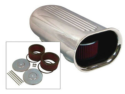 Blower Shop Dual Air Scoop for 4150 Carbs- complete w Air Filters- Polished