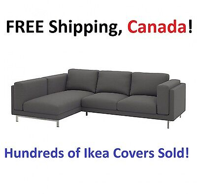 IKEA NOCKEBY Loveseat with Chaise LEFT Cover Slipcover RISANE GRAY New! Sealed!