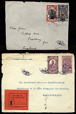 Ethiopia Two early 1930 parts of covers (Front only)