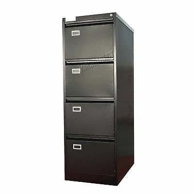 FoxHunter Steel A4 Filing Cabinet With 4 Drawer Storage Office Furniture Black