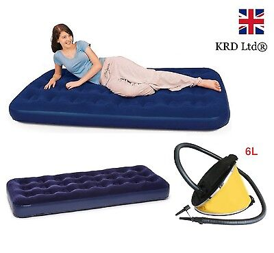 INFLATABLE AIR MATTRESS Bed Flocked Camping Guest Relaxing Single & Pump Gift UK