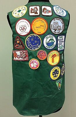 Girl Scout Vest Badges Pins 1984-1987 Patches Troop 1074 Handmade Green