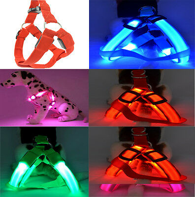 LED Light Flashing Dog Collar Pet Puppy Harness Adjustable Safety Chest Belt NEW
