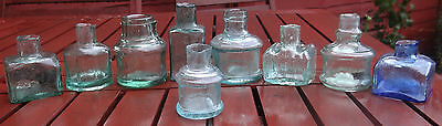 Lot Of 9 Antique 1880;1910 Victorian & Edwardian Old English Ink Bottles.cute