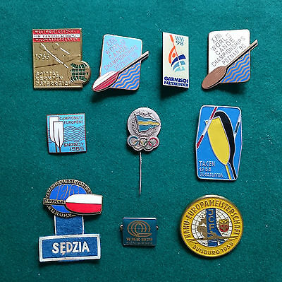 Group of 10 Canoe Kayak World Olympic and Olympic Championship badges