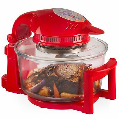 Andrew James 12 LTR Premium Red Digital Halogen Oven Cooker With Hinged Lid