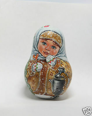 """Russian doll MATRYOSHKA Roly Poly """"Winter tea party"""" ORIGINAL HAND-PAINTED"""