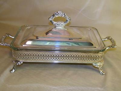Vintage ONEIDA Silver Plated Footed Covered Casserole Serving Tray w/dish