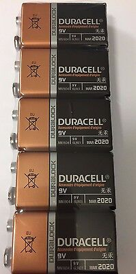 9V Duracell Duralock Batteries BLOCK MN1604 6LR61 PP3 Battery Alkaline Pack 5 UK