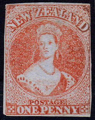 New Zealand 1855 1d Red SG4 Blued Paper Fine & Fresh Unused 4 Clear Margins Rare