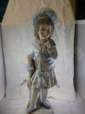 Antique Beautiful  Rudolstadt French Boy or Girl In Blue Porcelain HP Figurine