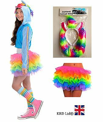 Kids RAINBOW MAGICAL UNICORN Girls Halloween Fancy Dress Tutu Costume Skirt UK